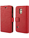 Case For Samsung Galaxy Samsung Galaxy Case Card Holder Wallet with Stand Flip Full Body Cases Solid Color PU Leather for S5 Mini