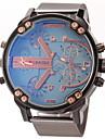 JUBAOLI 男性用 軍用腕時計 リストウォッチ クォーツ ステンレス ブラック 2タイムゾーン カジュアルウォッチ ハンズ チャーム - ダークブルー イエロー ライトブルー