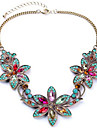 Women\'s Synthetic Diamond Bib Pendant Necklace - Rhinestone Flower European, Colorful, Festival / Holiday Screen Color Necklace For Party, Special Occasion, Birthday