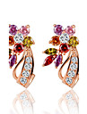 Cubic Zirconia Stud Earrings Hoop Earrings - Zircon Flower Rainbow For Wedding Party Daily
