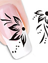 Water Transfer Printing Black And White Flower Nail Stickers
