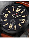 NAVIFORCE Муж. Наручные часы Кварцевый Японский кварц Календарь Кожа Группа Люкс Черный Коричневый