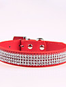 Dog Collar Adjustable / Retractable Rhinestone PU Leather Black Rose Red Blue Pink