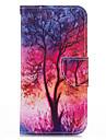 Кейс для Назначение iPhone 5 Apple Кейс для iPhone 5 Бумажник для карт Кошелек со стендом Флип С узором Чехол дерево Твердый Кожа PU для