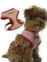 Dog Harness Adjustable / Retractable Stripe Fabric Red Blue
