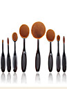 2016 New 10 Pcs Soft Oval Toothbrush Makeup Brush Sets Foundation Brushes Cream Contour Powder Blush Concealer Brush Cream Cosmetic Puff Batch