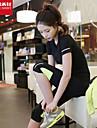 Per donna Nero Grigio Gli sport Curva Elastene T-shirt Canotte Top Yoga Pilates Esercizi di fitness Manica corta Abbigliamento sportivo Traspirante Asciugatura rapida Morbido Elasticizzato