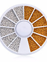 Fashion 1 Wheel 3D DIY Tiny White Gold Circle Bead Decoration Nail Art Caviar Stickers