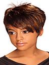 Perruque Synthetique Droit Marron Femme Sans bonnet Noir perruque Cheveux Synthetiques
