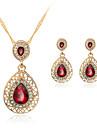 Pentru femei Cristal Set bijuterii - Cristal, Ștras, Placat Cu Aur Roz Include Colier / cercei Rosu Pentru Nuntă Petrecere Zilnic / Σκουλαρίκια / Coliere
