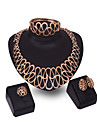 XIXI Women\'s Vintage 18K Gold Plated Zirconia Cut Out Flower Necklace & Earrings & Bracelet & Ring Jewelry Set