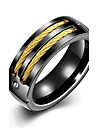 lureme® Vintage Unisex Black Stainless Steel Screw and 2 Gold Tone Lines Ring