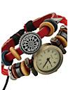 Femme Montre Tendance Bracelet de Montre Numerique Cuir Bande Boheme Rouge Rouge