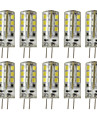 10pcs 3W 200-250 lm G4 Luminarias de LED  Duplo-Pin T 24 leds SMD 2835 Regulavel Decorativa Branco Quente Branco Frio DC 12V