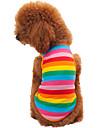 Chat Chien Tee-shirt Vetements pour Chien Rayure Arc-en-ciel Coton Costume Pour les animaux domestiques Homme Femme Mode