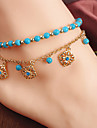 Women\'s Anklet/Bracelet Bohemian Style Blue Beaded Flower Pendant Tassel Combination Anklet Casual 1 pc