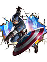 3D Captain America Broken Wall Design 3D Wall Stickers Fashion Bedroom Living Room Superhero Wall Decals