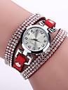 Women\'s Bohemian Style Crystal Leather Band White Case Analog Quartz Bracelet Fashion Watch