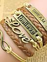 Homme Femme Cuir Chaines & Bracelets Bracelets en cuir Bracelets Vintage - Bijoux initial Inspiration LOVE Dore Bracelet Pour Regalos de