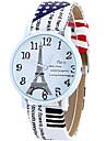 Женские Модные часы Наручные часы Повседневные часы / Кварцевый Кожа Группа Эйфелева башня Cool Повседневная Белый Синий Коричневый Роуз