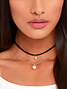 Women\'s Circle Shape Personalized Tattoo Style Tassel Basic Multi Layer Fashion Simple Style European Choker Necklace Tattoo Choker Pearl