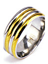 Men\'s Silver Gold Alloy Band Ring