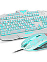 Three Adjustable Color Backlit Keyboard & Mouse Combos Set with Cool Crack Pattern for Laptop Windows/Mac OS
