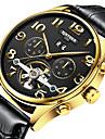 남성용 드레스 시계 스켈레톤 시계 손목 시계 오토메틱 셀프-윈딩 30 m 방수 달력 크로노그래프 가죽 밴드 아날로그 캐쥬얼 브라운 - 화이트 블랙