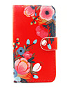Red Flower Pattern PU Leather Full Body Case with Stand and Card Slot for Wiko Lenny 2 Lenny 3 Sunset 2