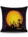 1 pcs Linen Pillow Cover, Graphic Prints Accent/Decorative