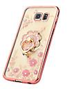 Para Samsung Galaxy S7 Edge Com Strass / Cromado / Suporte para Aliancas / Transparente / Estampada Capinha Capa Traseira Capinha Flor TPU