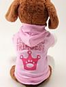 Chat Chien Pulls a capuche Vetements pour Chien Tiares & Couronnes Rose Coton Costume Pour les animaux domestiques Femme Mode