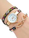 Women\'s Fashion Watch Wrist watch Bracelet Watch Colorful Quartz PU Band Vintage Flower Bohemian Charm Bangle Cool CasualBlue Grey