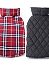 Dog Coat Vest Dog Clothes Winter Spring/Fall Plaid/Check Keep Warm Reversible Beige Brown Red Green