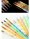 5PCS 5 Sizes 2-way UV Gel&Acrylic Nail Art Painting Draw Brush with 5PCS 2-way Dotting Marbleizing Pen Tool