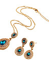 Jewelry Set Simulated Diamond Drop Red Green Blue Wedding Party Daily Casual 1set 1 Necklace 1 Pair of Earrings Wedding Gifts
