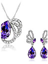 Women\'s Jewelry Set Synthetic Amethyst Crystal Rhinestone Austria Crystal Alloy Butterfly Animal Wedding Party Daily 1 Necklace 1 Pair of