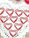 padrão de coração prata plástico embrulhado clipes de papel (10pcs) para escritório