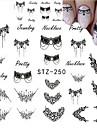 5pcs/set Hot Fashion Nail Art Lace Belt Water Transfer Sticker Beautiful Black Necklace Jewelry Design Decoration STZ-250