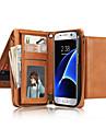 Capinha Para Samsung Galaxy S7 edge S7 Porta-Cartao Carteira Flip Corpo Inteiro Cor Solida Macia Couro Legitimo para S7 edge S7 S6 edge