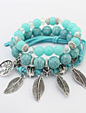 Women\'s Leaf Charm Bracelet Strand Bracelet - Bohemian Fashion Green Pink Light Blue Bracelet For Party Gift