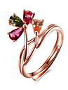 Mulheres cuff Anel Floral Flores Prata de Lei Cristal Rosa Folheado a Ouro Formato de Flor Joias Para Festa Aniversario Diario
