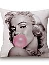 1 Pcs Classic Marilyn Monroe Blow Bubbles Printing Pillow Cover Creative Square Pillow Case Cotton/Linen Cushion Cover