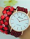 Mulheres Bracele Relogio Quartzo Mostrador Grande Couro Banda Flor Boemio Preta Branco Azul Vermelho Marrom