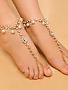 Damen Synthetischer Diamant Quaste Barfusssandalen Kuenstliche Perle Tropfen damas Modisch Yoga Fusskettchen Schmuck Gold / Silber Fuer Alltag Normal / Strass