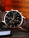 Men\'s Fashion Watch Japanese Quartz Calendar Chronograph Noctilucent Leather Band Black Brown