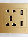Type 86  USB*2 Power Outlet 2 Bit 3 Bit Golden