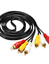 3RCA Connect Cable, 3RCA to 3RCA Connect Cable Male - Male 1.5m(5Ft)