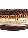 Men\'s Strand Bracelet Wrap Bracelet Handmade Bohemian Adjustable Personalized Leather Wood Circle Jewelry For Daily Casual Stage Club