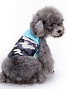 Собака Плащи Толстовка Жилет Одежда для собак Контрастных цветов Синий Хлопок Костюм Для домашних животных Муж. Жен. Для вечеринки На